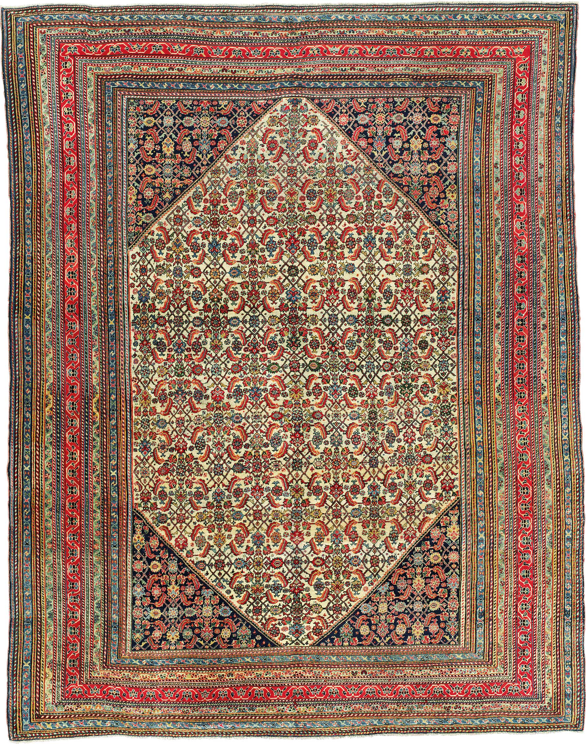 Perfect A Qashqai Rug. South Persia, Circa 1890. 8ft 1 In X 6ft 3