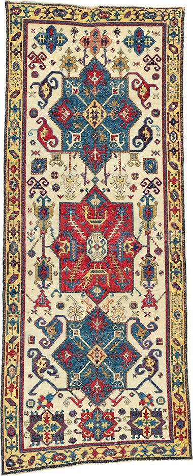 The Lehmann-Bärenklau Kuba medallion carpet. East Caucasus, first half 18th century. 9 ft 9 in x 3 ft 8 in (296 cm x 112 cm). This piece was offered in Oriental Rugs and Carpets on 19 April 2016 at Christie's in London and sold for £92,500