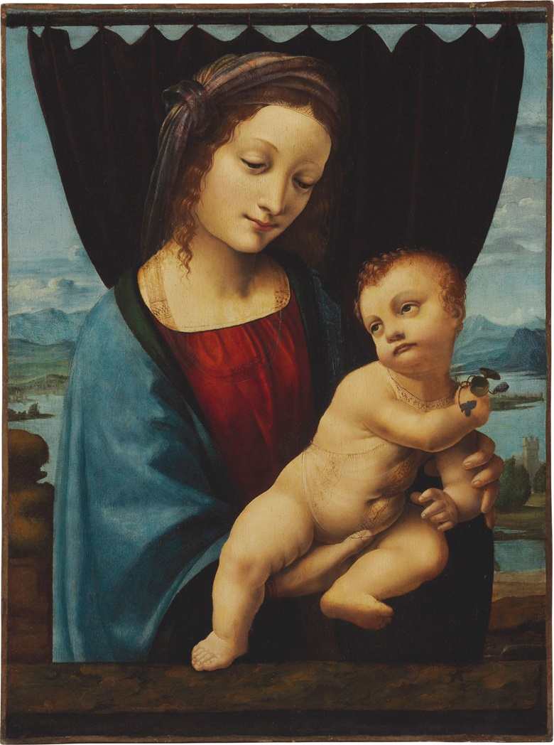 Marco D'Oggiono (Milan C. 1467-1524), The Madonna of the Violets. Oil on panel, transferred to canvas. 22 12 x 16 34 in. (57.1 x 42.5 cm.) Estimate $2,000,000-3,000,000. This work is offered in Old Masters Part I on 14 April at Christie's New York