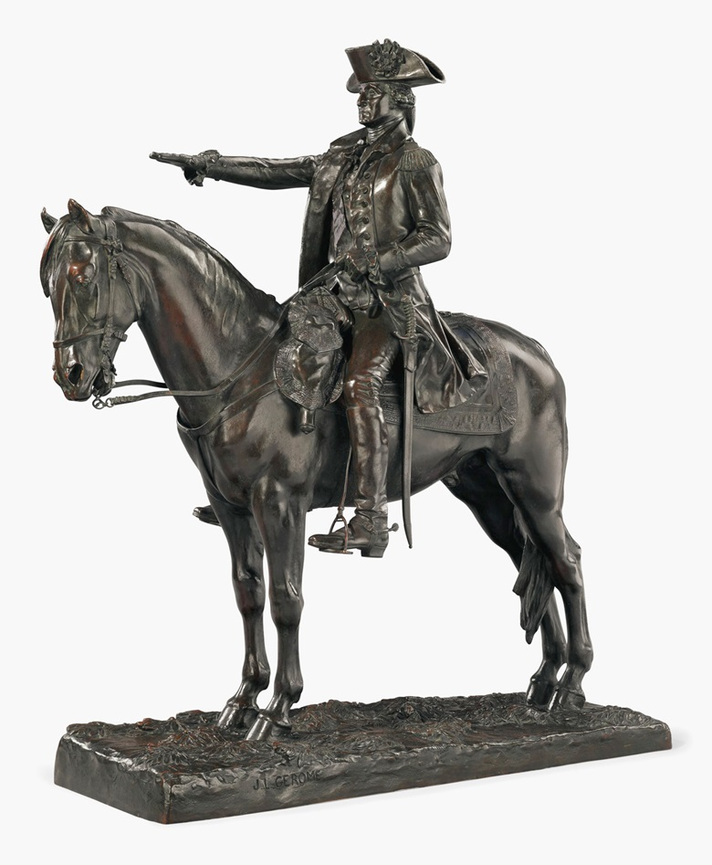 Jean-Léon Gérôme (Vésoul, Haute-Saône 1824-1904 Paris), Washington à cheval ('Washington on his horse'). Bronze, dark brown patina 31 78 in. (80 cm.) high, 29 ½ in. (75 cm.) wide. Estimate $60,000-80,000. This lot is offered in the Revolution Sale on 13 April at Christie's New York