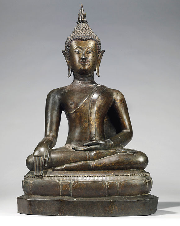 A bronze figure of the seated Buddha, Thailand, Ayutthaya period, 17th century. Estimate £20,000–30,000