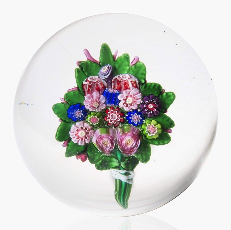 A Clichy bouquet weight. Mid-19th century. This lot was offered in Dress Your Desk Paperweights from the Neustadter Collection, 8-20 April 2016, Online