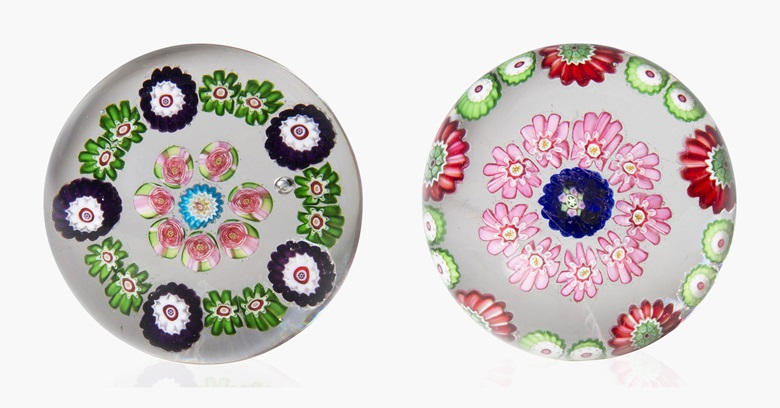 Two Clichy miniature concentric millefiori weights. Mid-19th century. This lot was offered in Dress Your Desk Paperweights from the Neustadter Collection, 8-20 April 2016, Online