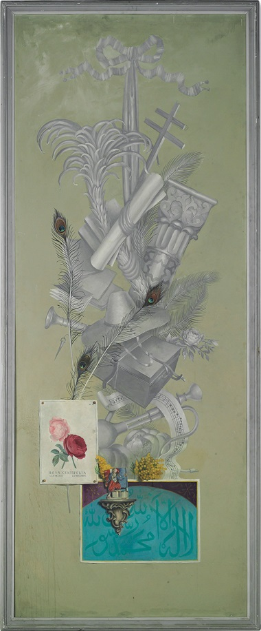Martin Battersby (1914-1982), A set of six panels depicting chapters from the life of Alfred Duff Cooper, 1st Viscount Norwich and Lady Diana Cooper (née Manners), Viscountess Norwich. Shown here Algiers. 104 ¾ x 43 ¼ in. (266 x110 cm.) Acrylic on aluminium. Estimate (for the six panels) £100,000-200,000. This lot is offered in Noble & Private Collections Part I on