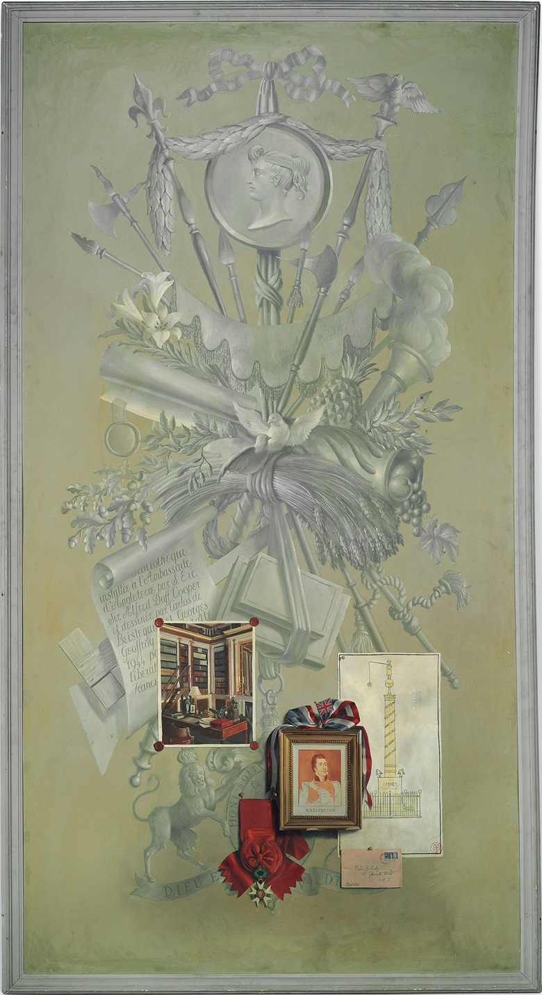 Martin Battersby (1914-1982), A set of six panels depicting chapters from the life of Alfred Duff Cooper, 1st Viscount Norwich and Lady Diana Cooper (née Manners), Viscountess Norwich. Shown here The Paris Embassy. 104 ¾ x 42 ¾ in. (266 x 108.5 cm.) Acrylic on aluminium. Estimate (for the six panels) £100,000-200,000. This lot is offered in Noble & Private