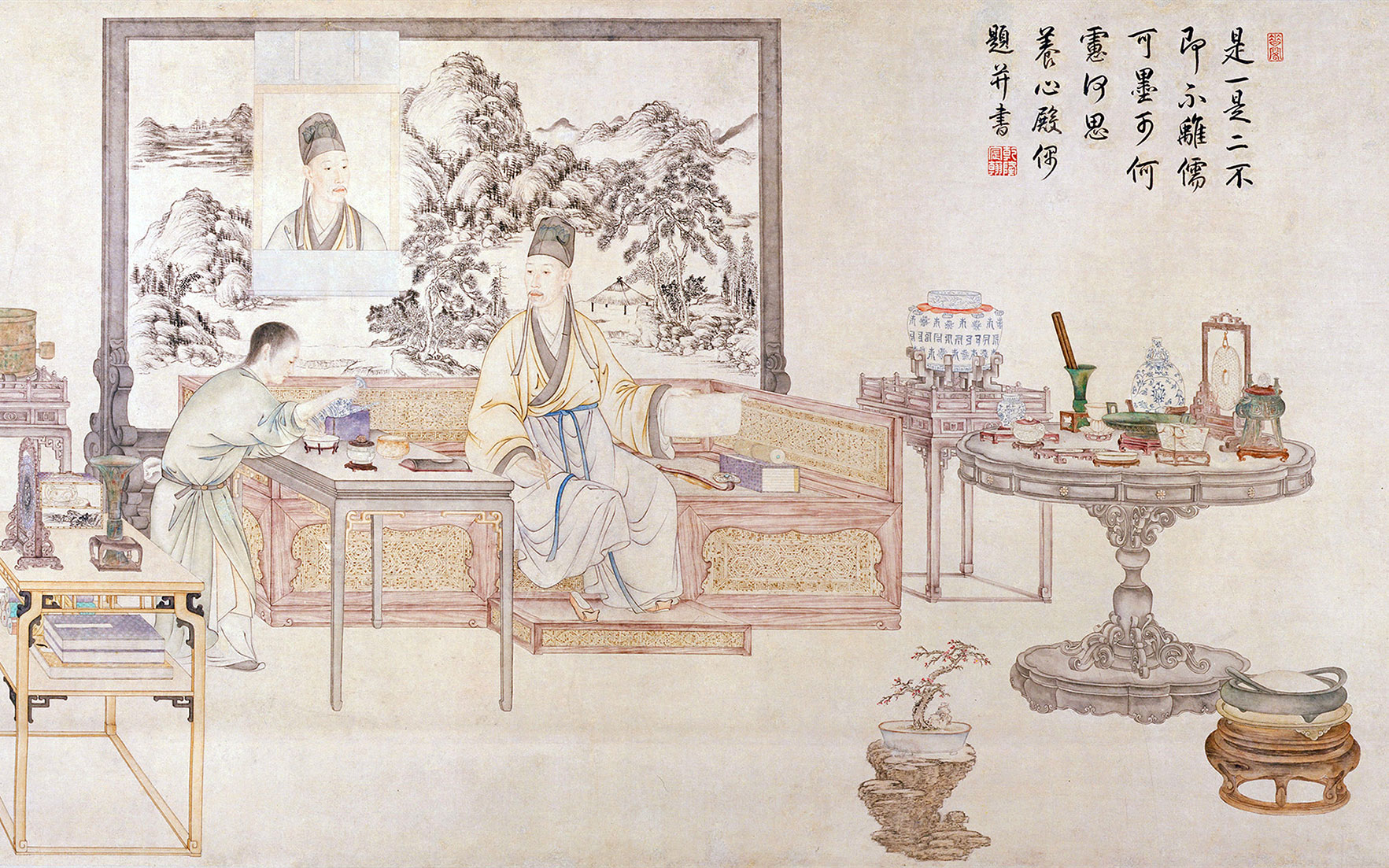 Detail from a portrait of the Qianlong Emperor in his study. Image Bridgeman Images