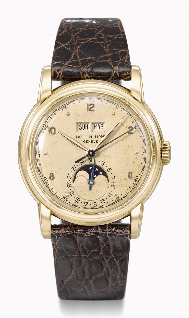Patek Philippe Ref. 2497 perpetual calendar wristwatch in yellow gold. Estimate CHF120,000-220,000. This watch is offered in the Rare Watches auction on 16 May at Christie's Geneva