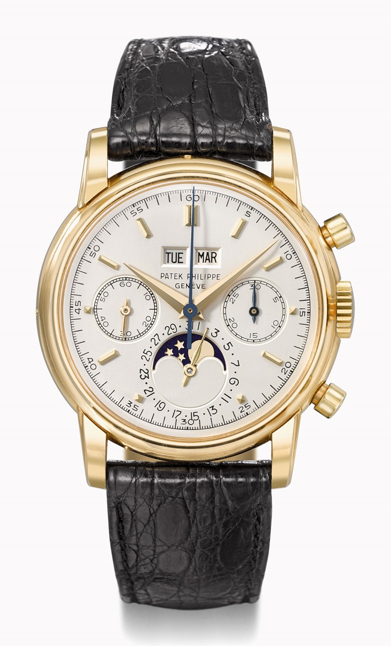 Patek Philippe Ref. 2499 perpetual calendar chronograph in yellow gold, third series. Estimate CHF250,000-450,000. This watch is offered in the Rare Watches auction on 16 May at Christie's Geneva