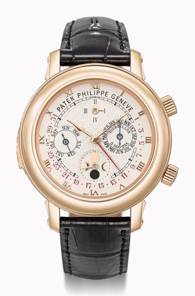 Patek Philippe Ref. 5002 Sky Moon Tourbillon in pink gold. Estimate CHF700,000-900,000. This watch is offered in the Rare Watches auction on 16 May at Christie's Geneva