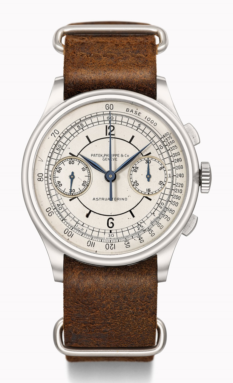 Patek Philippe Ref. 530 chronograph in stainless steel with sector dial, retailed by Astrua Torino. Estimate CHF500,000-800,000. This watch is offered in the Rare Watches auction on 16 May at Christie's Geneva