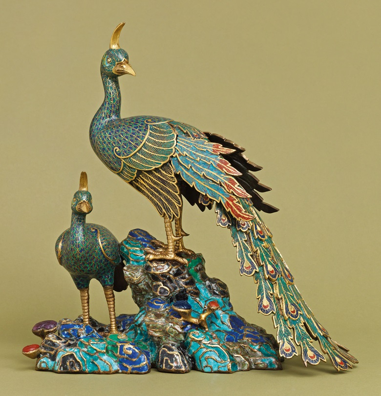 A rare Imperial cloisionné and champlevé enamel 'peacocks' group. Qianlong Period (1736-1795). This work was offered in Inspired Themes a Fine Selection of Chinese Works of Art on 10 May 2016 at Christie's in London and sold for £74,500