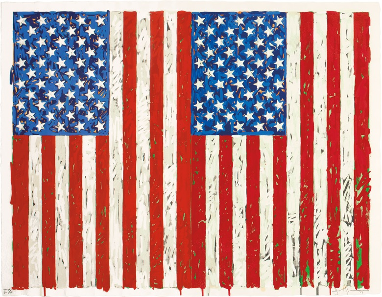 Jasper Johns (b. 1930), Flags I, 1973. Screenprint in colours, on J.B. Green paper, signed, titled and dated in pencil, numbered 5965 (there were also 7 artists proofs), co-published by the artist and Simca Print Artists, Inc., New York, with their blindstamp, the full sheet, in very good condition, framed. Sheet 27 38 x 35 ¼ in. (695 x 895 mm.) Estimate $800,000-1,200,000. This work is