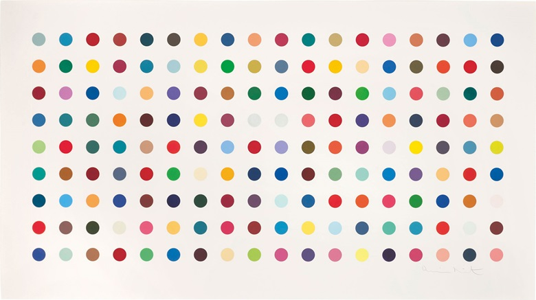 Damien Hirst (b. 1965), Tetrahydrocannabinol, 2004. Etching in colours, 2004, on Hahnemühle etching paper, signed in pencil, numbered 38115 on the back of the frame. Plate 860 x 1770 mm., Sheet 1124 x 2010 mm. This work was offered in Prints & Multiples on 19 May 2016 at Christie's in London and sold for £22,500