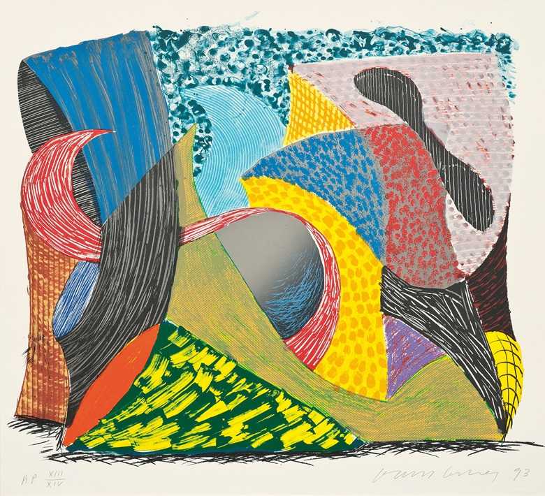 David Hockney (b. 1937), Going Out, from Some New Prints, 1993. Lithograph and screenprint in colours, 1993, on wove paper, signed and dated in pencil, numbered AP XIIIXIV, an artists proof aside from the edition of 68. Image 560 x 673 mm, Sheet 620 x 688 mm. This work was offered in Prints & Multiples on 19 May 2016 at Christie's in London and sold for £6,250