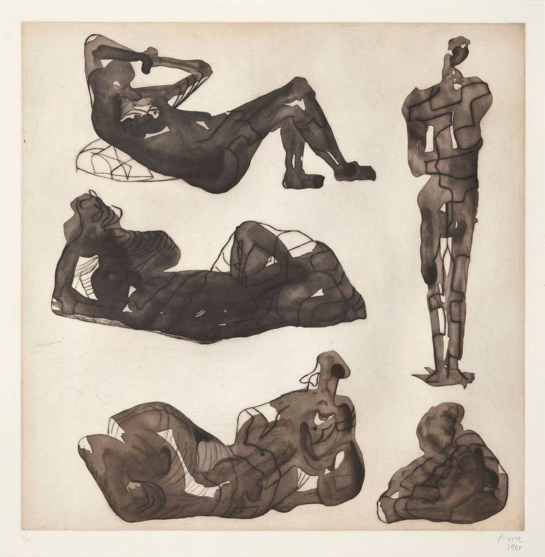 Henry Moore (1898-1986), Five sculptural ideas, 1980. Etching and aquatint in colours, on wove paper, signed and dated in pencil, numbered 610 (there were also six artists proofs). Plate 735 x 730 mm, Sheet 950 x 945 mm. This work was offered in Prints & Multiples on 19 May 2016 at Christie's in London and sold for £6,250