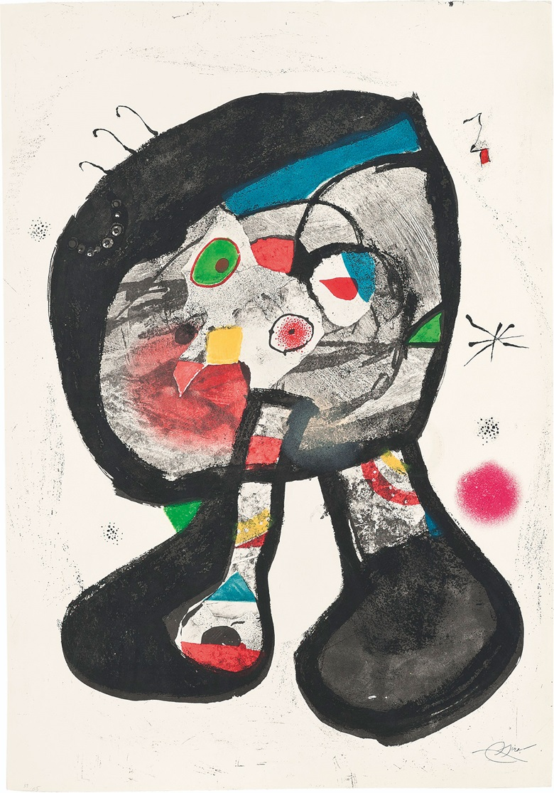 Joan Miró (1893-1983), Le Fantôme de l'Atelier. Etching and aquatint in colours, with lithograph, 1987, on Arches wove paper, with the artist's stamped signature (as issued), numbered 5165. Image & Sheet 900 x 630 mm. This work was offered in Prints & Multiples on 19 May 2016 at Christie's in London and sold for £5,250