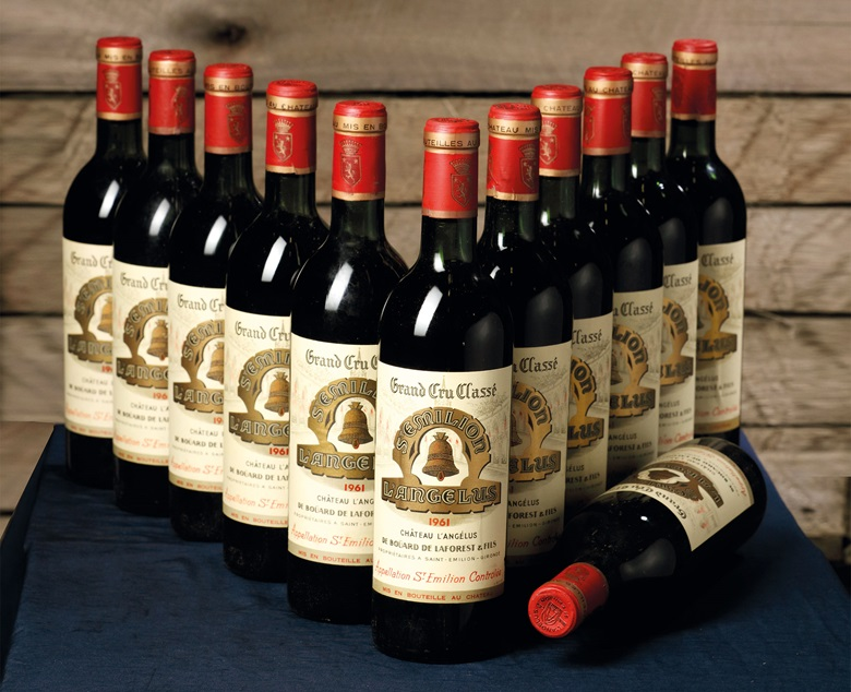 Château Angelus 1961; Saint-Emilion, 1er grand cru classé. 12 bottles per lot. Lot 60. Estimate CHF 4,000-6,000 ($4,168 - $6,253). This lot is offered in Fine And Rare Wines on 17 May at Christie's in Geneva