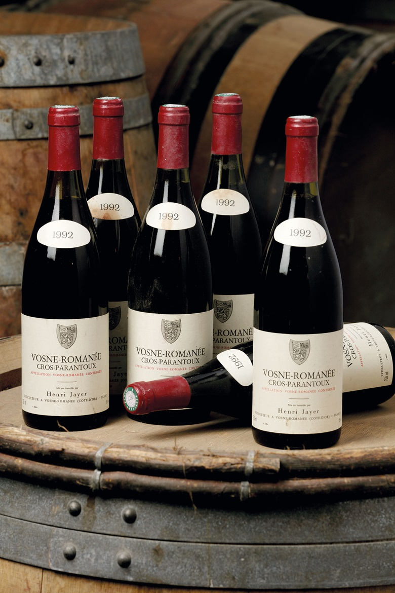 Henri Jayer, Vosne-Romanée, Cros Parantoux 1992, 1er Cru, Côte de Nuits. 6 bottles. Estimate CHF 22,000-26,000 ($22,928 - $27,097). This lot is offered in Fine And Rare Wines on 17 May at Christie's in Geneva