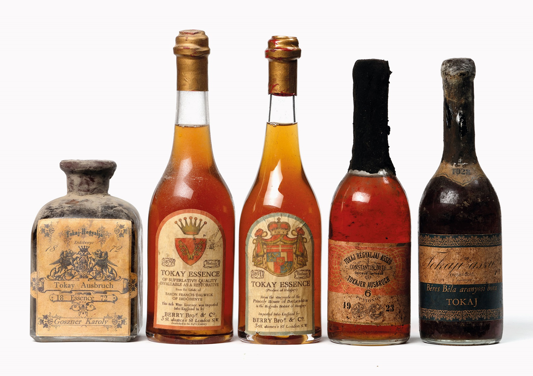 Tokay selection. Lot 274, Lot 275, Lot 276 and Lot 277. Total estimate of the 5 bottles CHF 5,600-7,000 ($5,375-6,720).
