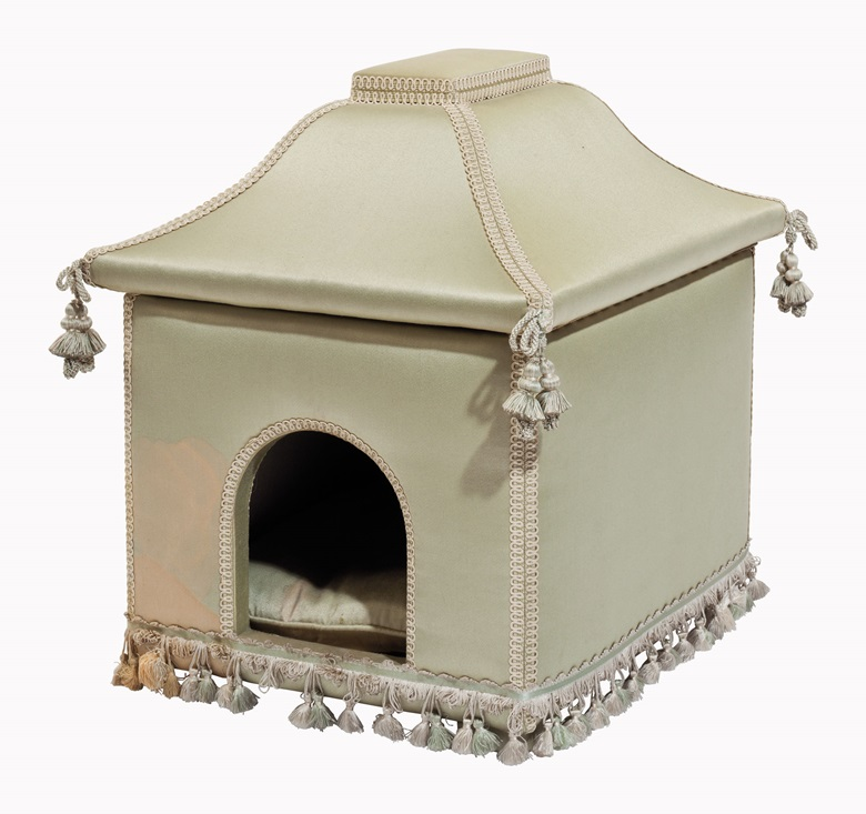 A celadon silk-upholstered dog house. Estimate $1,000-1,500. This lot will be offered in The Private Collection of Joan Rivers on 22 June at Christie's in New York