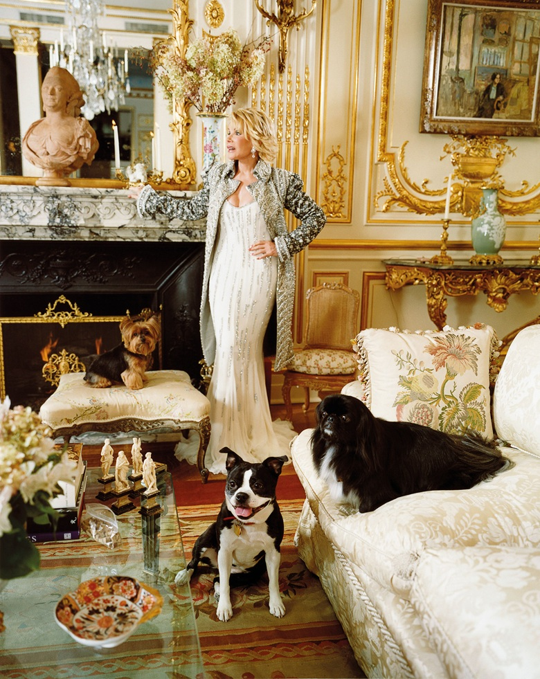 Joan Rivers with three of her beloved dogs in her Upper East Side apartment