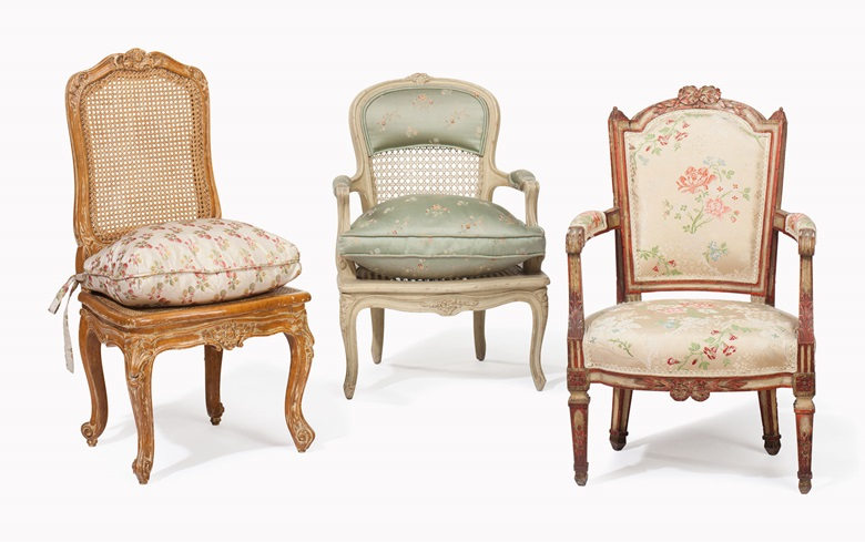Three French child's armchairs. Estimate $1,000-1,500. This lot will be offered in The Private Collection of Joan Rivers on 22 June at Christie's in New York