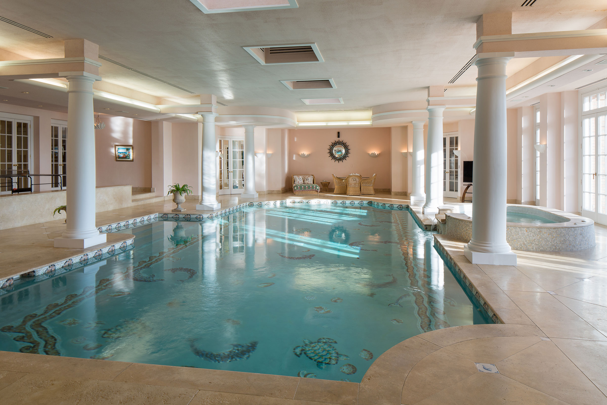 At The Centre Of The Estate, A Georgian Style Manor Features An Indoor,  Mosaic Tiled Swimming Pool, With A Seating ...