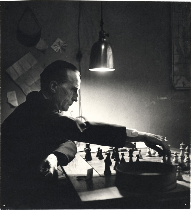 Marcel Duchamp playing chess in his studio, 1952  Kay Bell Reynal, photographer. [Photographs of artists taken by Kay Bell Reynal], 1952. Archives of American Art, Smithsonian Institution