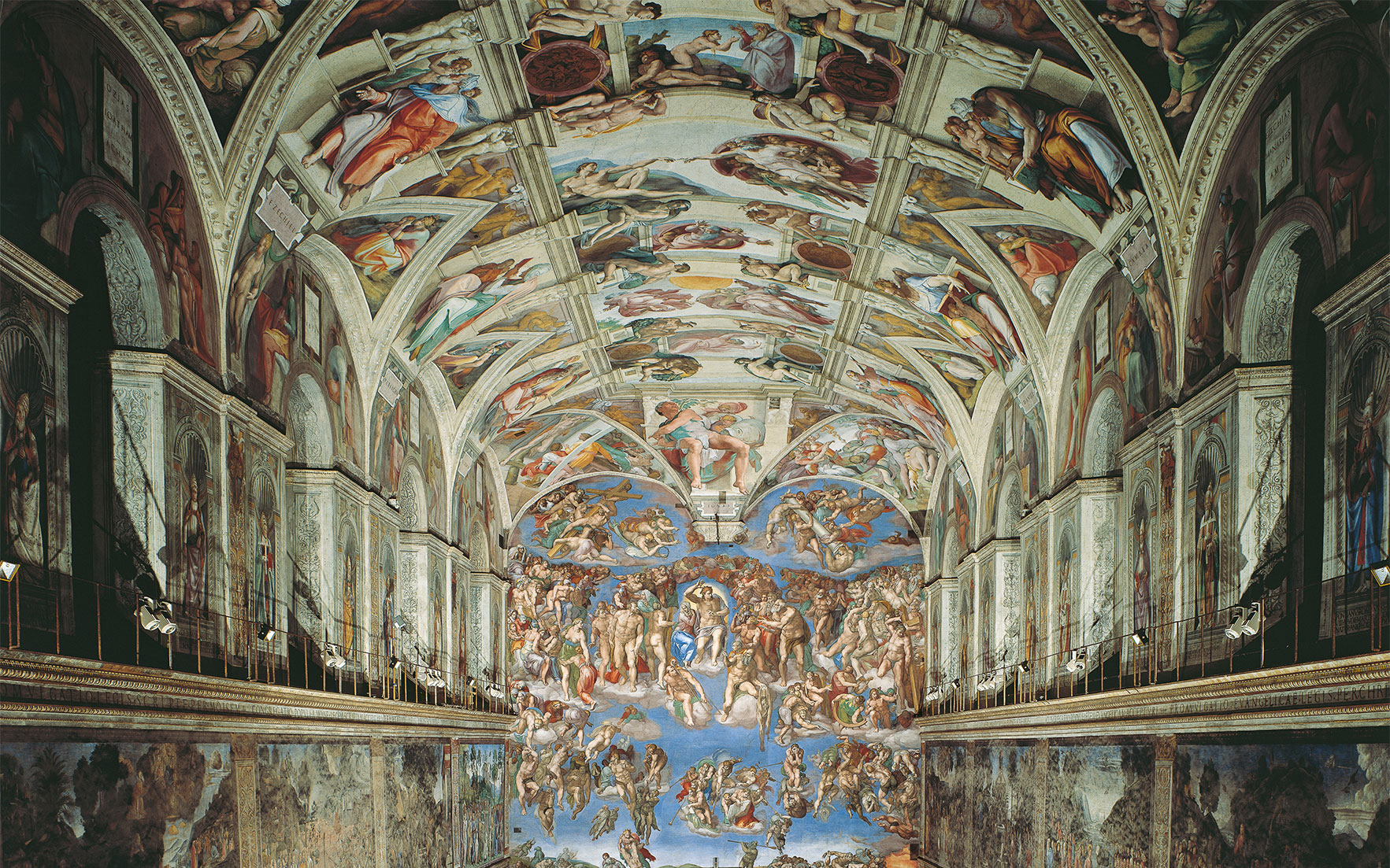 Michelangelo's frescoes in the Sistine Chapel. Photograph © Musei e Gallerie Pontificie, Musei Vaticani, Vatican City  Mondadori Portfolio  Bridgeman Images