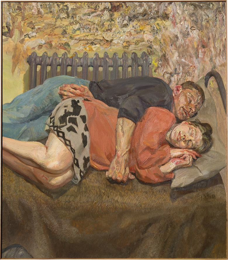 Lucian Freud (1922–2011), Ib and her husband, 1992. Oil on canvas. 66 ¼ x 57 ¾ in. (168.3 x 146.7 cm.) Estimate on request. This work is offered in Defining British Art Evening Sale at Christie's London on 30 June