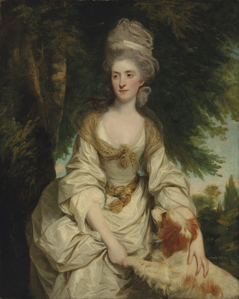 Sir Joshua Reynolds, P.R.A. (1723-1792), Portrait of Lucy Long, Mrs George Hardinge (d. 1820), daughter and heiress of Richard Long of Hinxton, Cambridgeshire, in a white dress with a sheer brown scarf and a ribbon and pearls in her hair, with her spaniel, in a landscape, 1778. Oil on canvas. 50 18 x 40 14 in. (127.3 x 102.1 cm.) Estimate £2,000,000-3,000,000. This work is offered in