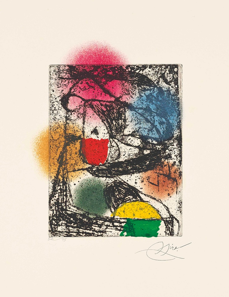 Joan Miró (1893-1983), Barb I. Plate 225 x 175 mm., Sheet 660 x 500 mm. Estimate £1,000-1,500. This work is offered in Prints & Multiples on 19 May at Christie's in London. Twenty four lots in the sale have been donated by Joan Punyet Miró to raise funds for the Red Cross of Catalo­nia, continuing a tradition established by his grandfather Joan Miró in