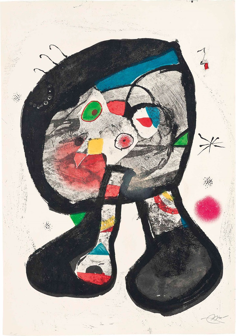 Joan Miró (1893-1983), Le Fantôme de l'atelier. Image & Sheet 900 x 630 mm. Estimate £6,000-8,000. This work is offered in Prints & Multiples on 19 May at Christie's in London