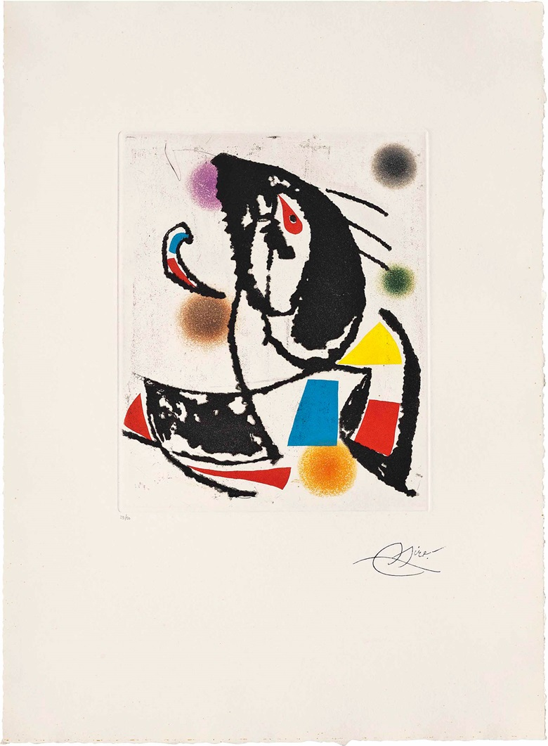 Joan Miró (1893-1983), Les Montagnerds II. Plate 280 x 230 mm., Sheet 546 x 395 mm. Estimate £700-1,000. This work is offered in Prints & Multiples on 19 May at Christie's in London