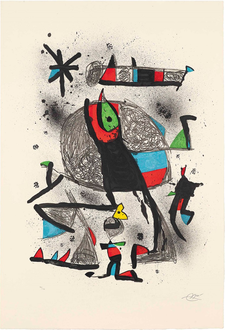 Joan Miró (1893-1983), Paysanne aux Oiseaux. Image 880 x 705 mm., Sheet 1050 x 714 mm. Estimate £2,000-3,000. This work is offered in Prints & Multiples on 19 May at Christie's in London