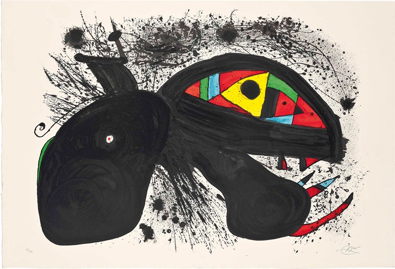 Joan Miro (1893-1983), Paysanne en colère. Image 630 x 890 mm., Sheet 715 x 1050 mm.. Estimate £1,500-2,500. This work is offered in Prints & Multiples on 19 May at Christie's in London
