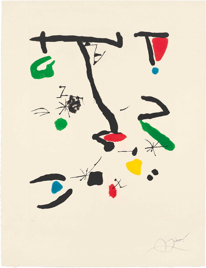 Joan Miró (1893-1983), Son Abrines II. Plate 640 x 500 mm., Sheet 910 x 695 mm. Estimate £1,500-2,500. This work is offered in Prints & Multiples on 19 May at Christie's in London