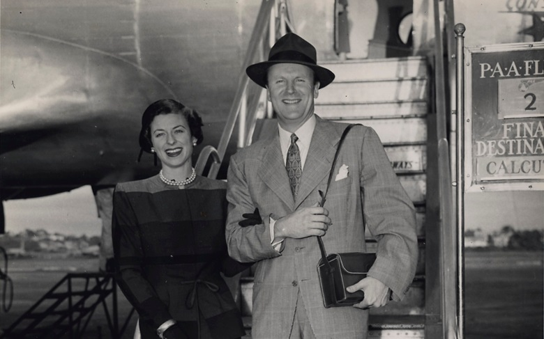 Charles and Palmer Ducommun in 1949 boarding Pan American Airways Flight 2 to London on the frst leg of their African honeymoon. Photographer unknown, courtesy of the family.