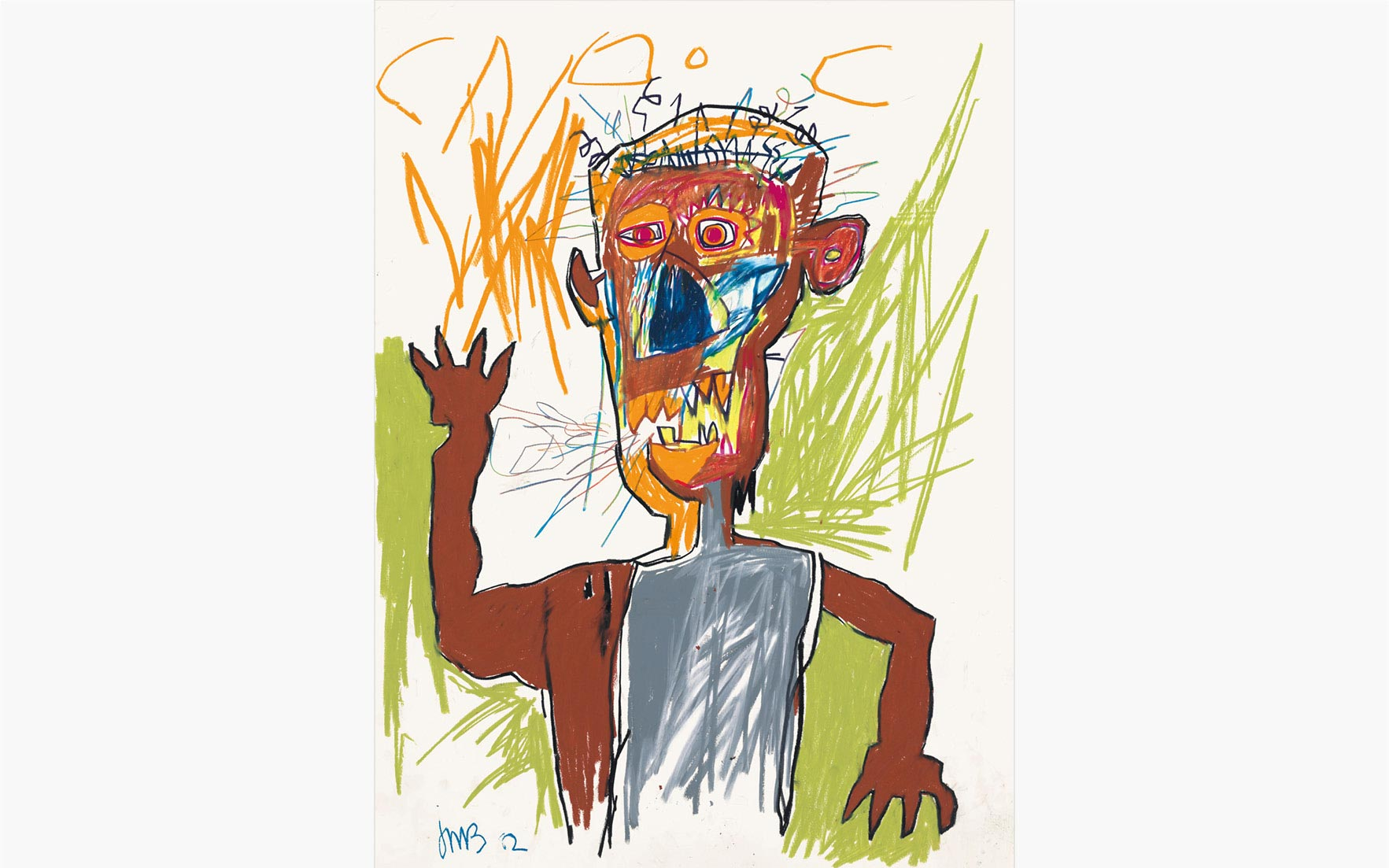 Jean-Michel Basquiat (1960–1988), Untitled, 1982. Oilstick and wax crayon on paper. 30 x 22 in. (76.2 x 55.9 cm.) Estimate $2,500,000–3,500,000. This work is offered in the Post-War and Contemporary
