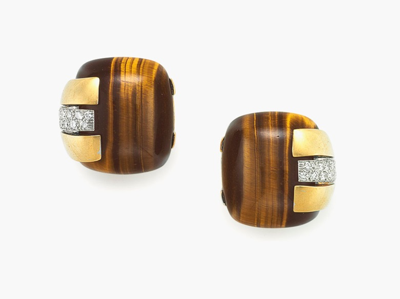 A Tiger's eye quartz, diamond and gold cuff bracelet, by David Webb. Estimate $10,000-15,000. These pieces are offered in Magnificent Jewels & the Jubilee Ruby on 20 April at Christie's New York