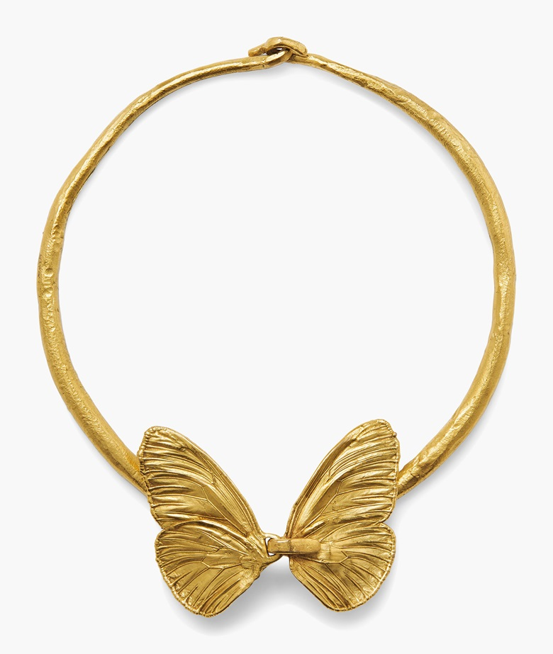 Claude Lalanne (b. 1925), Papillon necklace, circa 1989. Gilt bronze. Butterfly 4⅞ x 5 in. (12.3 x 12.5 cm.) Estimate $4,000-6,000. This work is offered in Art as Jewellery, 6-18 May, Online