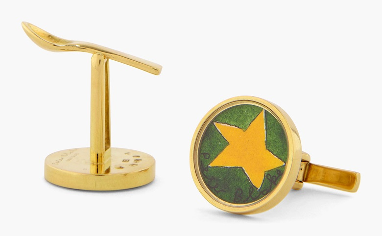 Peter Blake, Yellow Star, Cufflinks, 2008. Gold cufflinks with watercolour on paper. Stud diameter ⅞ in. (2cm.) Estimate $5,000-8,000. This work is offered in Art as Jewellery, 6-18 May, Online
