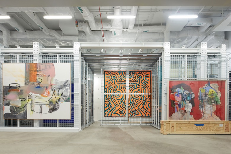 The Vault at The Broad, from left Albert Oehlen, Abstand, 2006; Keith Haring, Untitled, 1984; George Condo, Double Heads on Red, 2014. © Albert Oehlen. Keith Haring artwork © Keith Haring Foundation. © ARS, NY and DACS, London 2016