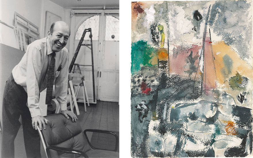 Left Clement Greenberg in January 1989. Right Helen Frankenthaler (1928-2011), Provincetown Harbor, 1950. Gouache and oil on paper. 24 34 × 19 14 in. (62.9 × 48.9 cm.). Estimate