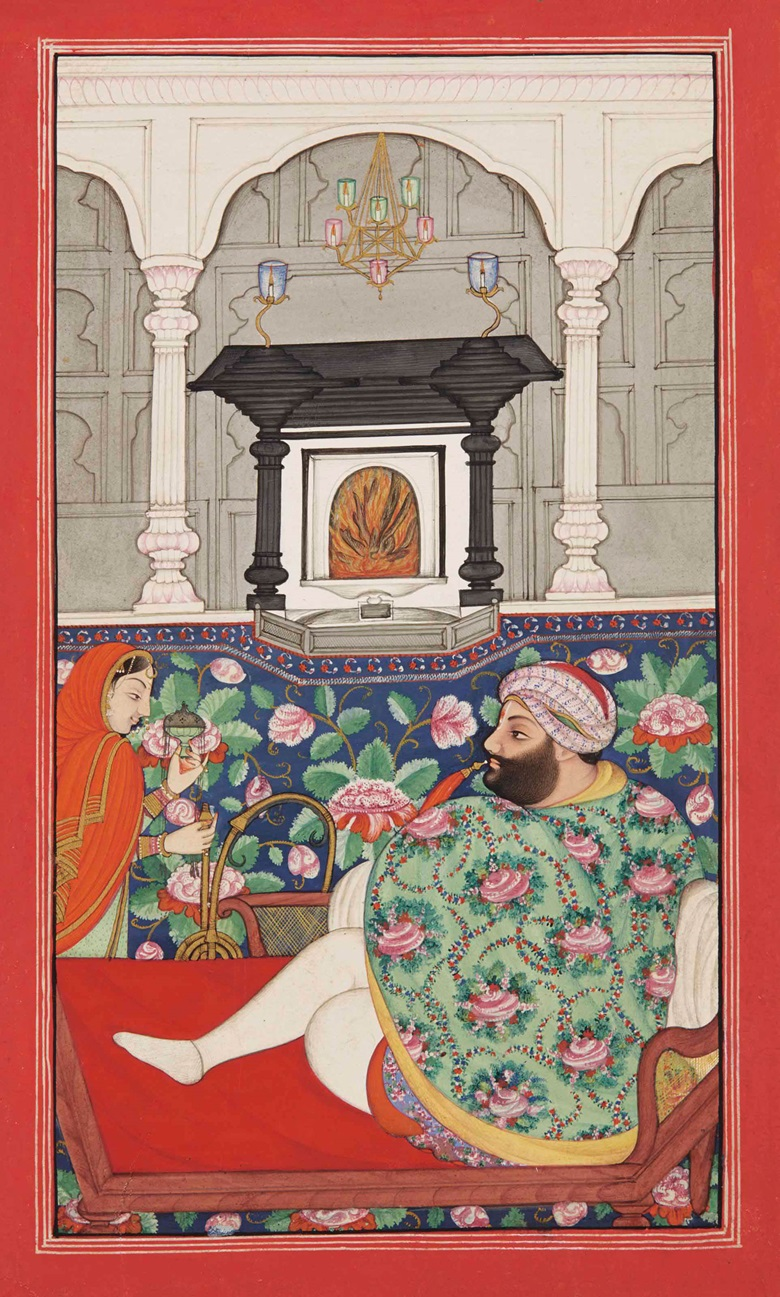 A raja enjoys a huqqa during a cold winter night. Pahari school, north India, circa 1825-50. 9 12 x 5 34 in. (24.2 x 14.6 cm.). Estimate £6,000-8,000. This work is offered in Arts of India on 26 May at Christie's in London