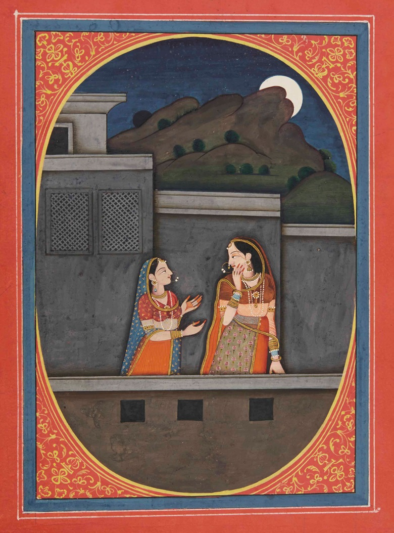 An illustration to the Sat Sai of Bihārī Quest for the lover in moonlight. Garhwal, north India, circa 1790-1800. 9 34 x 7 in. (24.8 x 18 cm.). Estimate £10,000-20,000. This work is offered in Arts of India on 26 May at Christie's in London