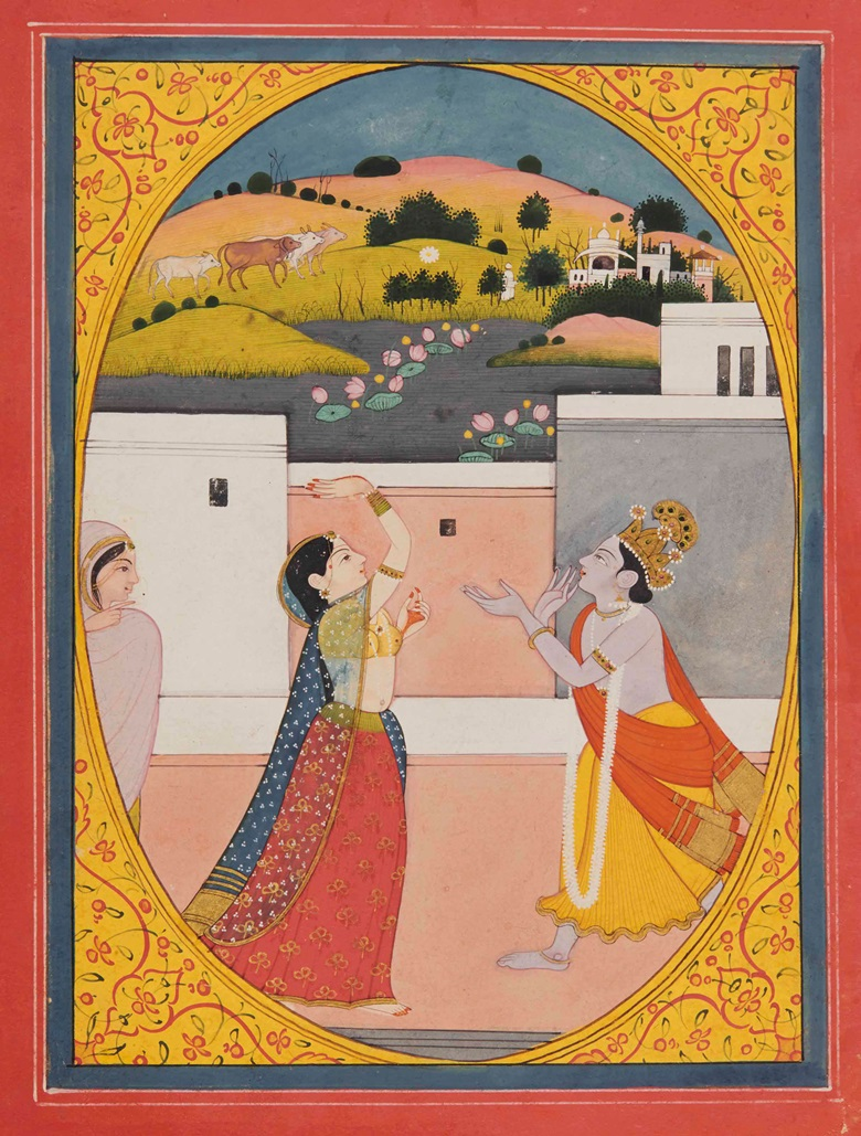 An illustration to the Sat Sai of Bihārī Tossing a flower. Garhwal, north India, circa 1790-1800. 9 34 x 7 in. (24.8 x 18 cm.). Estimate £10,000-20,000. This work is offered in Arts of India on 26 May at Christie's in London