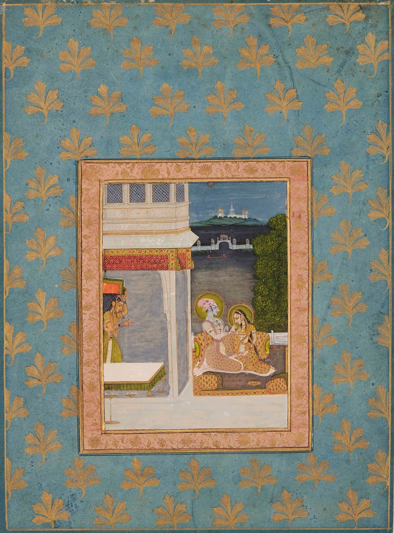 Krishna and Radha. Kishangarh, north India, circa 1760. The painting 6 12 x 4 34 in. (16.5 x 12.2 cm.); page 13 38 x 10 in. (34 x 25.5 cm.). Estimate £7,000-10,000. This work is offered in Arts of India on 26 May at Christie's in London