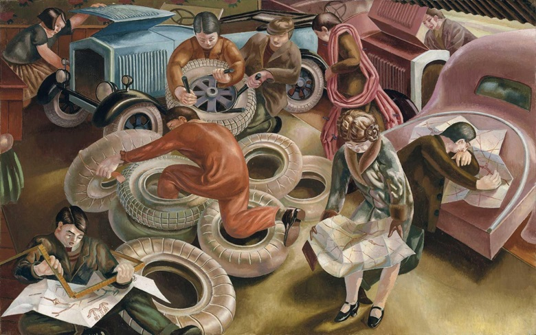 Sir Stanley Spencer, RA (1891-1959), The Garage. Oil on Canvas. 40 X 60 in. (101.6 x 155 cm.) Estimate £1,500,000-2,500,000. This work is offered in Defining British Art on 30 June at Christie's in King Street