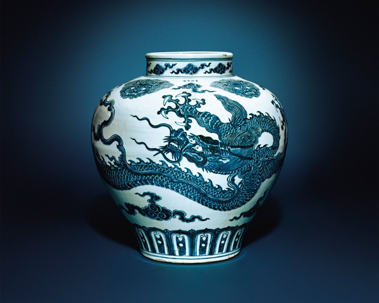 A magnificent very rare large blue and white 'dragon' jar, guan. Xuande four-character mark in underglaze blue and of the period (1426-1435). 19⅛ in. (48.5 cm.) high. Estimate HK$60,000,000-80,000,000  $7,764,834-10,353,112. This work is offered in 30 Years The Sale on 30 May at Christie's Hong Kong